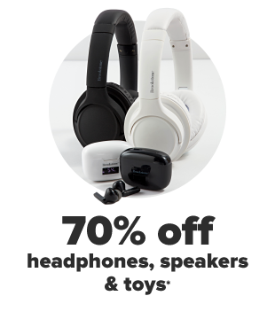 Black and white headphones. 60% off headphones, speakers and toys.