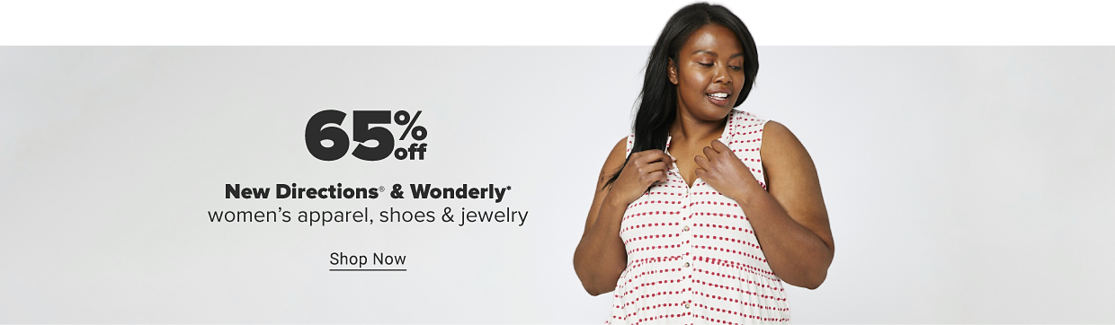 Weekly Spotlight Summer Styles. 65% off New Directions and Wonderly. Shop now. A woman in a sleeveless, button up white top with stripes of red dots going across it.