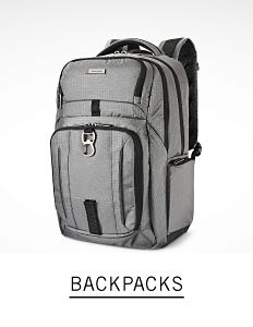 A gray backpack. Shop backpacks.