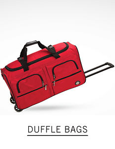A red duffle bag with two wheels and adjustable handle. Shop duffle bags.