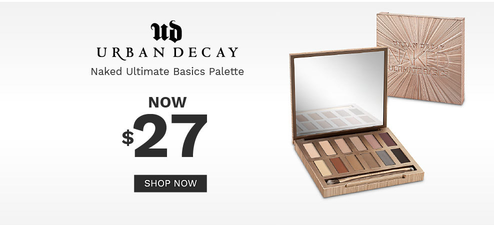 A closed eye shadow palette and an open eye shadow palette with a variety of eye shadow colors. $27 Urban Decay Naked Ultimate Basics Palette. Shop now.