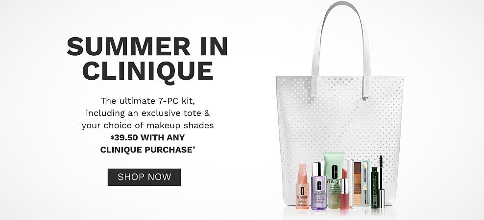 A white tote with a variety of Clinique makeup. Summer in Clinique. The ultimate 7 piece kit, including an exclusive tote and your choice of makeup shades. $39.50 with any Clinique purchase. Shop now.