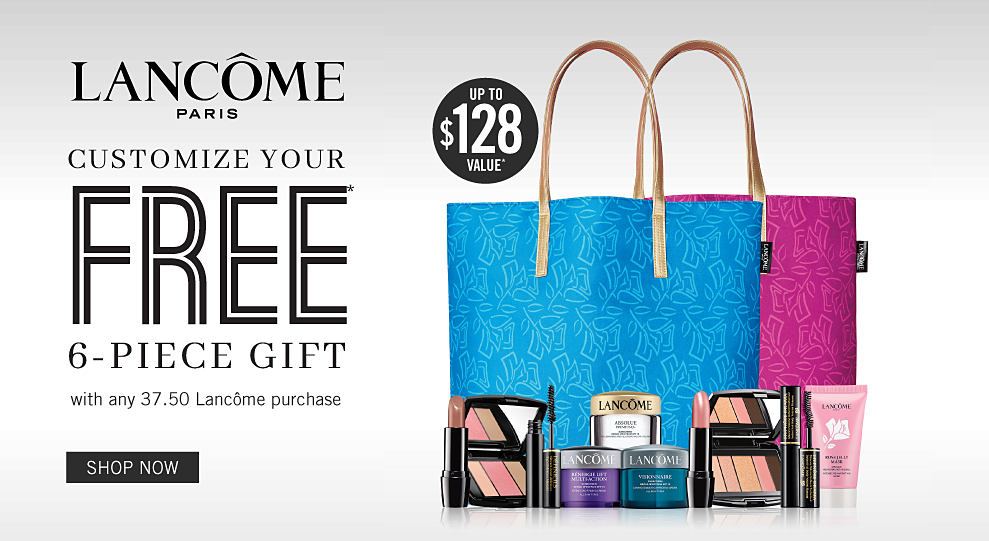 59695445dc85ad A blue and pink tote bag with a variety of beauty products. Up to $128