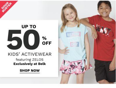 Doorbuster - Up to 50% off kids' activewear featuring ZELOS exclusively at Belk. Shop now.
