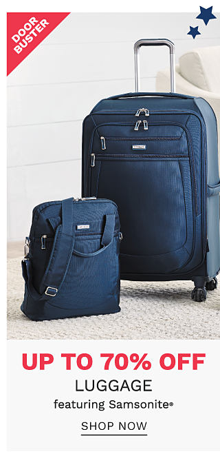2 pieces of blue luggage. DoorBuster. Up to 70% off luggage featuring Samsonite. Shop now.