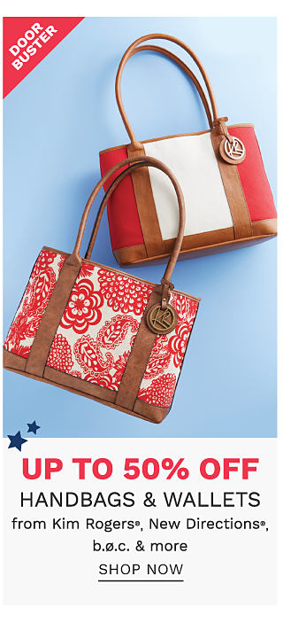 A red & white floral print handbag with brown leather straps & trim & a red & white colorblock handbag with brown leather straps & trim. DoorBuster. Up to 50% off handbags & wallets from Kim Rogers, New Directions, b. o. c. & more. Shop now.