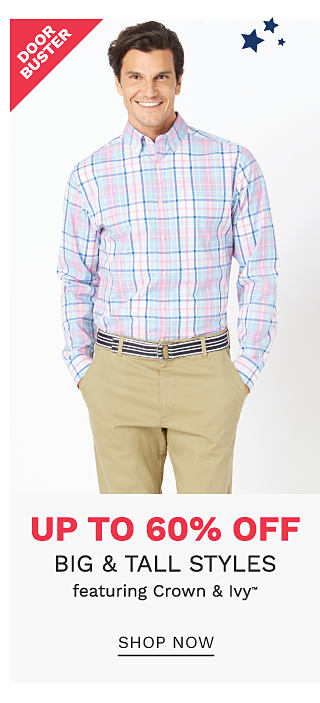 A man wearing a multi colored plaid long sleeved button front shirt & beige pants. DoorBuster. Up to 60% off big & tall styles featuring Crown & Ivy. Shop now.