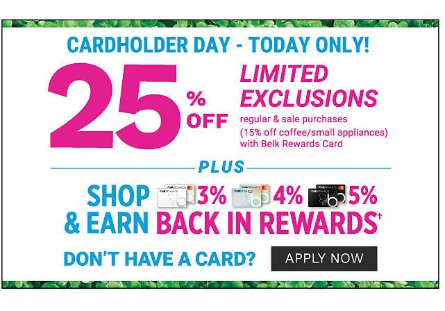 Shop & Earn. 3% back in rewards with Belk Rewards Card purchases. 4% back in rewards with Belk Premier Card purchases. 5% back in rewards with Belk Elite Card purchases. Redeem rewards with no brand exclusions. Learn more.