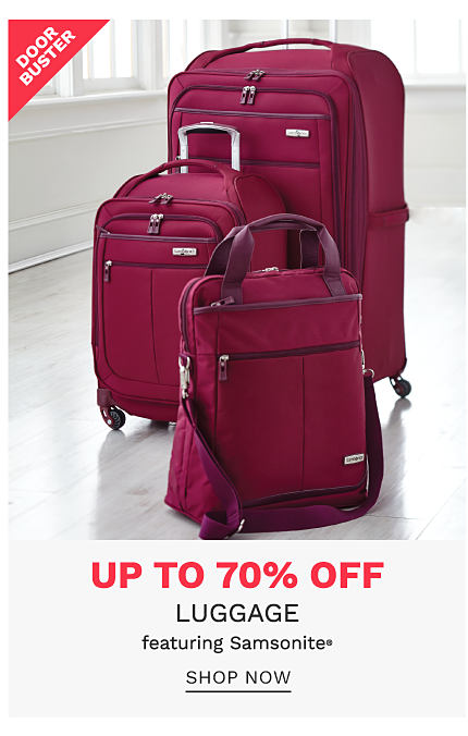 A burgundy 3 piece luggage set. DoorBuster. Up to 70% off luggage featuring Samsonite. Shop now.