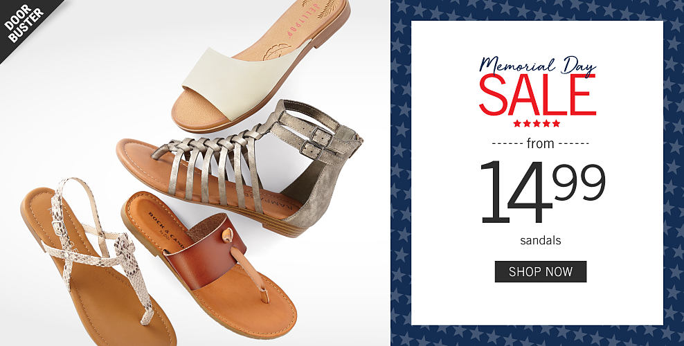 a189e90bc296 An assortment of women s sandals in a variety of colors   styles. Memorial  Day Sale