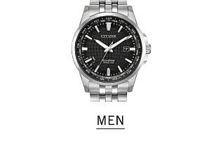 A silver tone men's watch with a black dial. Shop men's watches.