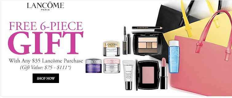 Lancôme Paris - Free 6-piece Gift with any $35 Lancôme purchase (Gift Value: $75-$111) | Value will vary based on client's selection of products. Offer good while supplies last. One gift per client. | Shop Now