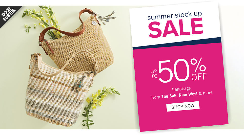 27b1b332a55f Two different styles of woven handbags. Summer Stock Up Sale. Doorbuster.  Up to
