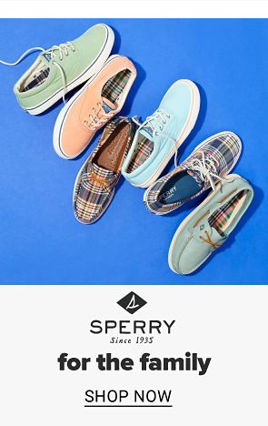 A collection of boat shoes in different colors and prints. Sperry for the family, shop now.