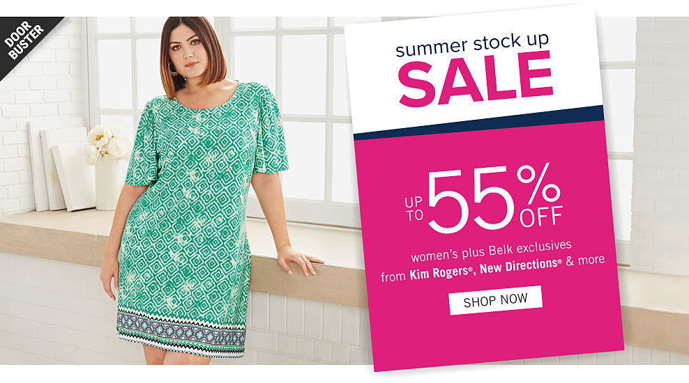 558d8cf3e8f A woman wearing a green   white patterned print short sleeved dress. Summer  Stock Up
