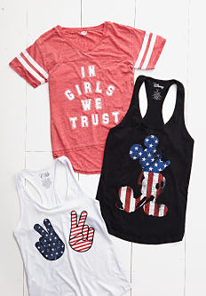 An assortment of young women's graphic tees & tanks. Shop graphic tees.