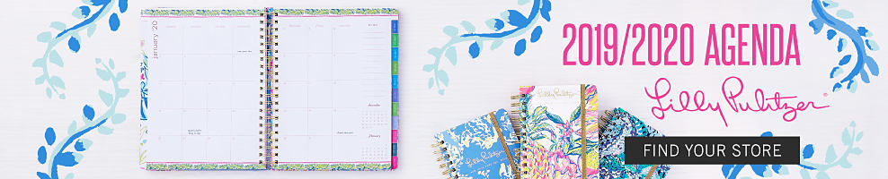 An open agenda book. An assortment of agenda books in a variety of colors, styles & prints. 2019 & 2020 Agenda Lilly Pulitzer.