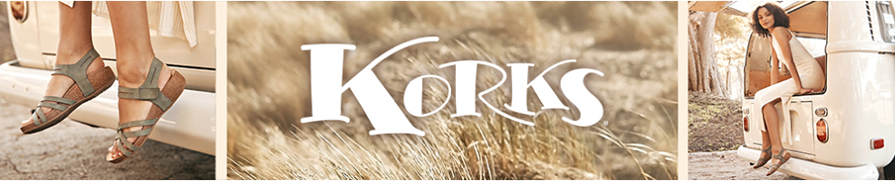 A woman sits in the back of a classic white van, her feet dangling by the bumper and adorned with Korks sandals that feature olive straps and a cork sole. Another photo shows a close up of these sandals, and in between these two photos is an image of a dry, tan grass with the Korks logo.