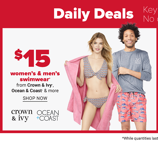 $15 women's & men's swimwear. Shop now.