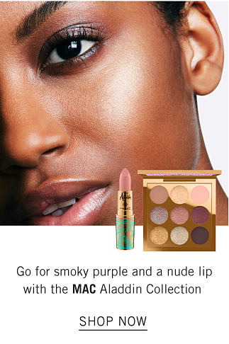 A model wearing MAC makeup. Go for smoky purple and a nude a lip with the MAC Aladdin Collection. Shop now.