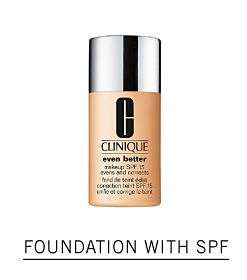 A bottle of foundation. Shop foundation with SPF.
