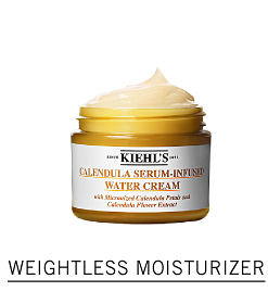 A container of cream. Shop weightless moisturizer.