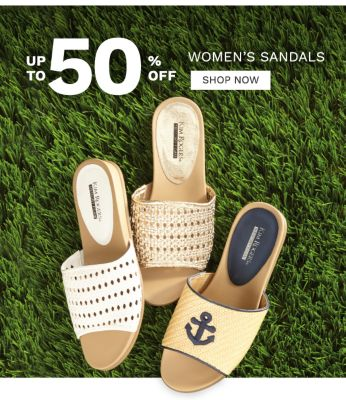 Up to 50% off women's sandals. Shop now.