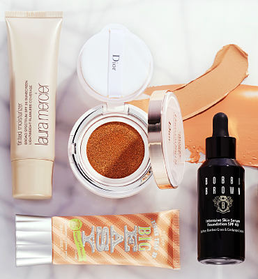 An assortment of foundation products.