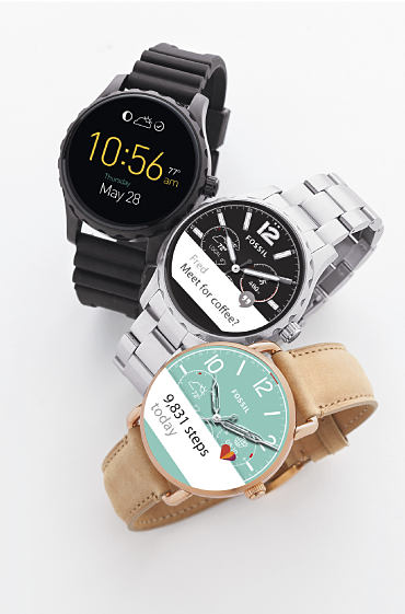 Three Fossil smart watches.