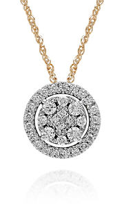 A round diamond pendant. Shop necklaces.
