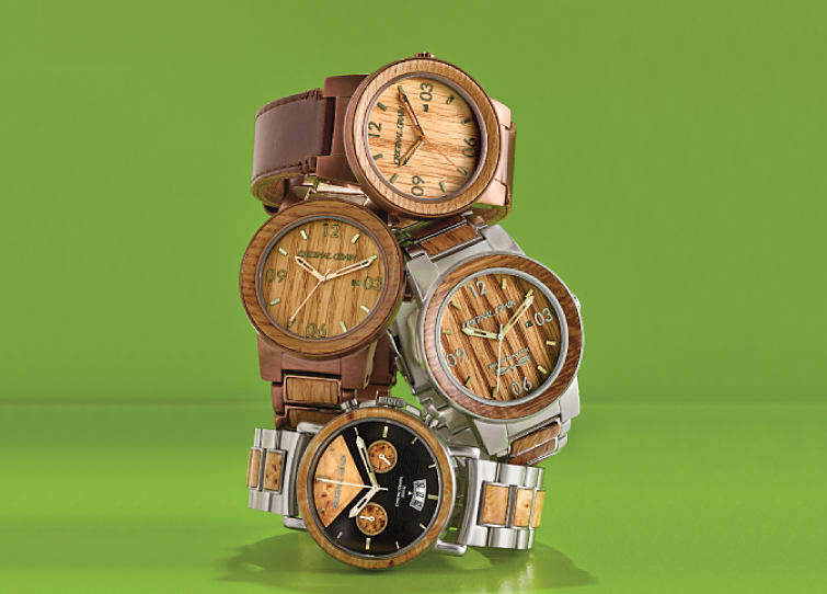 Stainless steel and wood Original Grain watches.