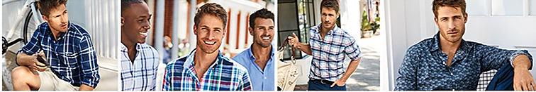 4 men wearing Chaps button-front shirts.