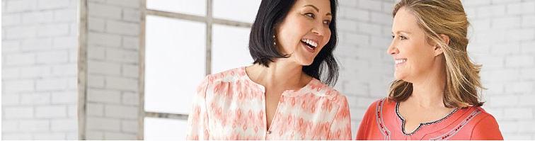 2 women wearing Kim Rogers tops.