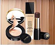An assortment of Lancome makeup shop makeup.