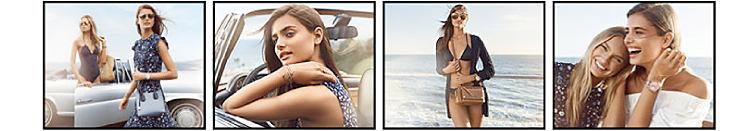 A woman wearing a MICHAEL Michael Kors swimsuit and a woman wearing a MICHAEL Michael Kors dress, a woman wearing a MICHAEL Michael Kors dress, a woman wearing a MICHAEL Michael Kors swimsuit, and 2 women wearing MICHAEL Michael Kors dresses.