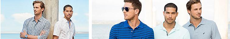 Men on beach with dress shirts