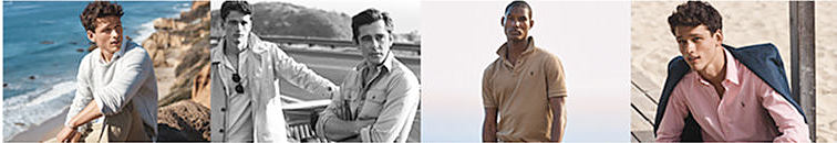 Four men wearing polo ralph lauren standing in various exotic locations