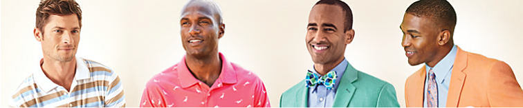 2 men wearing Saddlebred polos and 2 men wearing Saddlebred sportcoats.