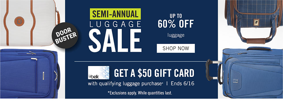 4e184fc9d9f58 A variety of suitcases. Semi-annual luggage sale. Up to 40% off