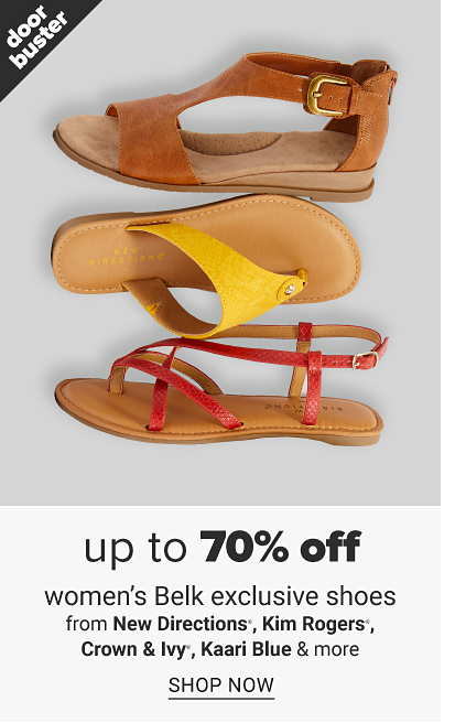 Three sandals in different colors and styles. Doorbuster, up to 70% off shoes from New Directions, Kim Rogers, Crown and Ivy, Kaari Blue and more, shop now.