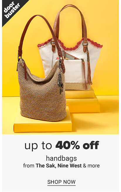 A woven handbag with a brown strap and a white and beige handbag with a brown strap. Doorbuster up to 40% off handbags from Nine West, The Sak and more, shop now.