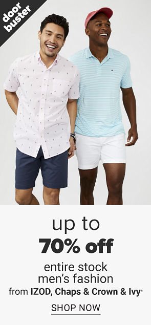 Up to 70% off entire stock men's fashion. Shop now.