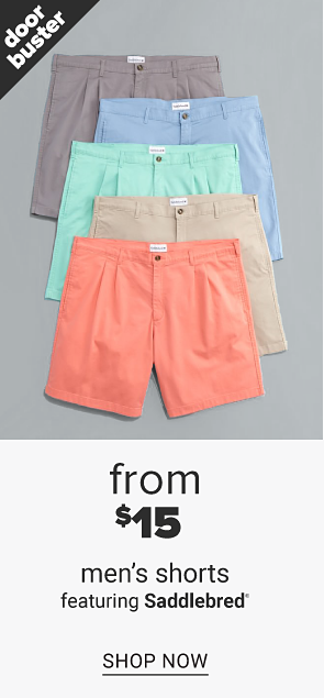 A beige short sleeve button front shirt on top of a stack of the same shirt in a variety of other colors. Men's shirts from $10, featuring Saddlebred, shop tops. An orange pair of shorts on top of a stack of the same shortsin a variety of other colors. Men's shorts from $15 featuring Saddlebred, shop shorts.