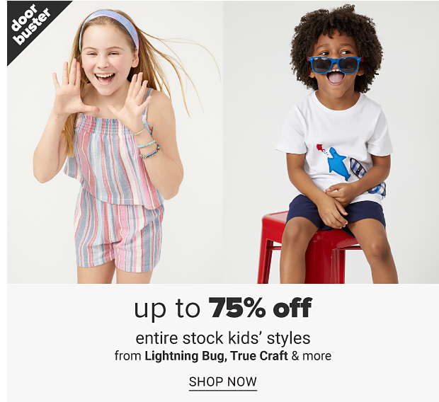 A little girl in a pink, blue and white stripe romper. A little boy in a graphic tee, navy shorts and blue sunglasses. Up to 75% off entire stock kids' styles from Lightning Bug, True Craft and more shop now.