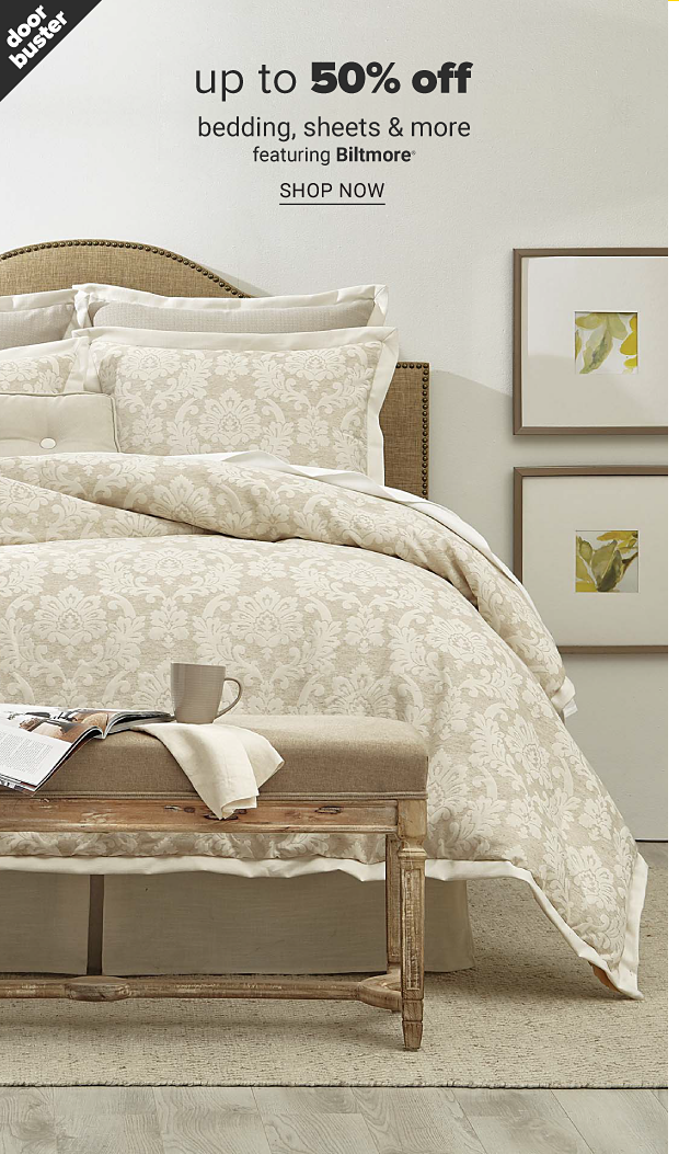 A bed with light beige bedding with a floral pattern and pillows to match. Doorbuster, up to 50% off bedding, sheets and more featuring Biltmore, shop now.