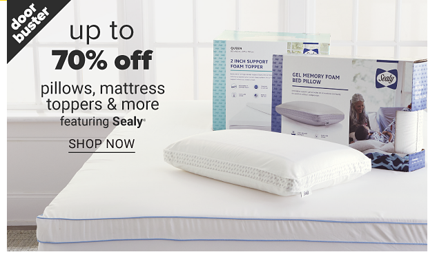 A foam topper in a box. A memory foam pillow in a box and a pillow out of the box. Doorbuster up to 70% off pillows, mattress toppers and more featuring Sealy, shop now.
