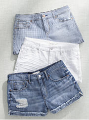 An assortment of denim shorts. Shop shorts.