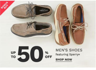 Bonus Buy - Up to 50% off men's shoes featuring Sperry®. Shop now.