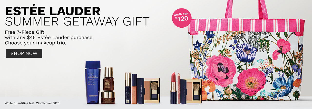 A colorful floral tote bag with a variety of Estee Lauder makeup products. Estee Lauder Summer getaway gift. Free 7 piece gift with any $45 Estee Lauder purchase. Choose your trio. Worth over $120. Shop now.