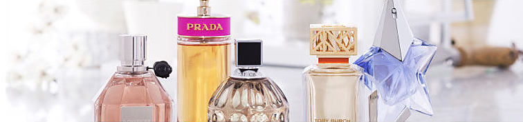 A colorful selection of women's fragrance bottles.